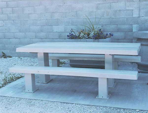 8'L Rectangular Concrete Picnic Table - Steel Legs