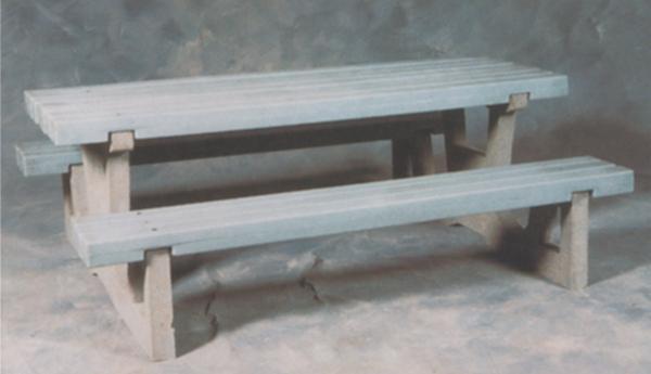 7'L Concrete Picnic Table with Plastic Top