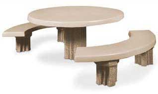 90.75Dia. Round Concrete 'Courtyard' Picnic Table