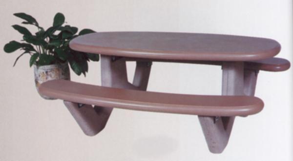 Rectangular-Oval Concrete Picnic Table