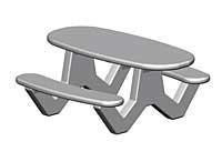 ADA Rectangular-Oval Concrete Picnic Table