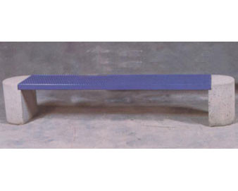 Flat Concrete Bench with Thermoplastic-Coated Metal Seat