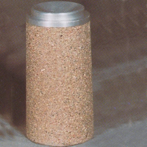Round Concrete Urn - Spun Aluminum Bowl - 11.5Dia x 24H