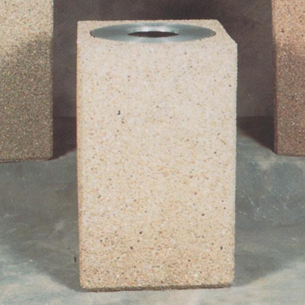 22-Gal. Square Open Top Concrete Trash Receptacle - 22L x 22W x 36H