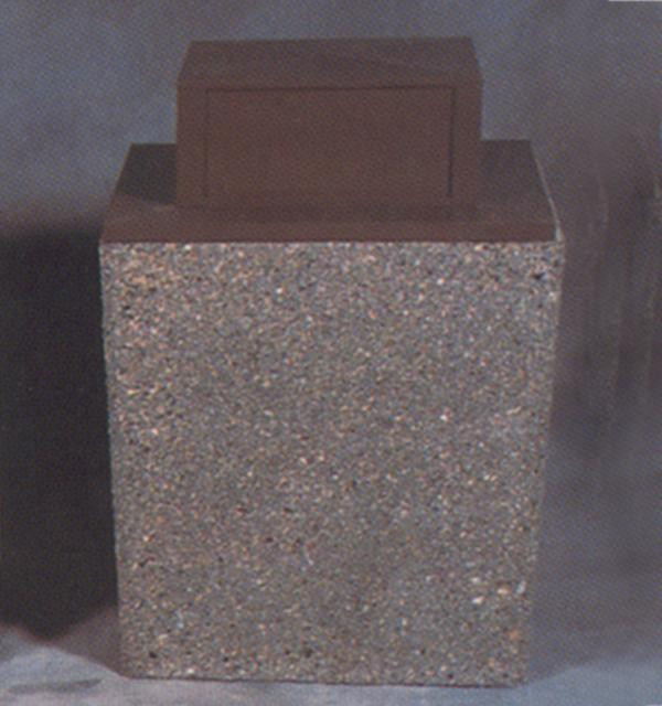 36-Gal. Rectangular Covered Top Concrete Trash Receptacle