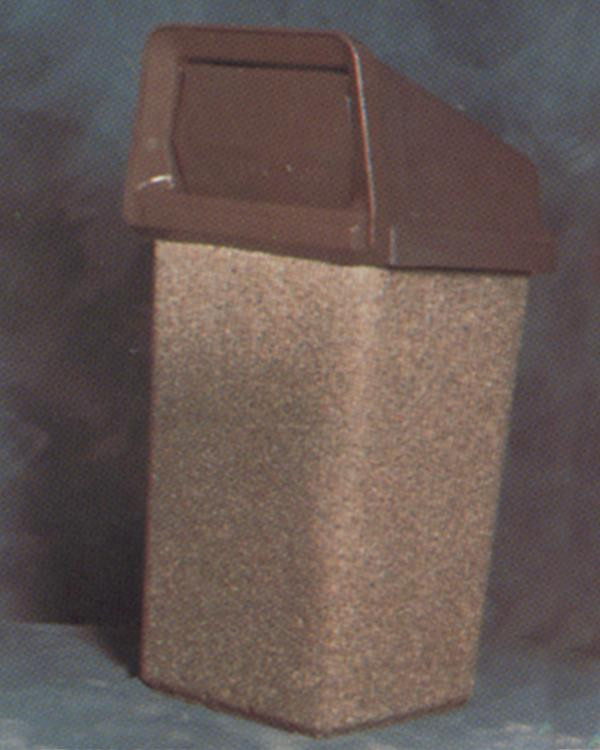 20-Gal. Square Covered Top Concrete Trash Receptacle - 20.5L x 20.5W x 40H