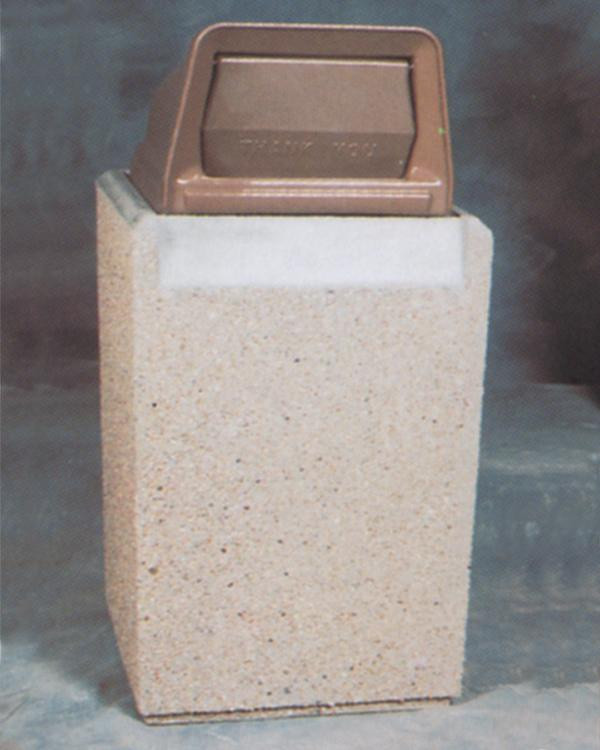 36-Gal. Square Covered Top Concrete Trash Receptacle - 25L x 25W x 37H