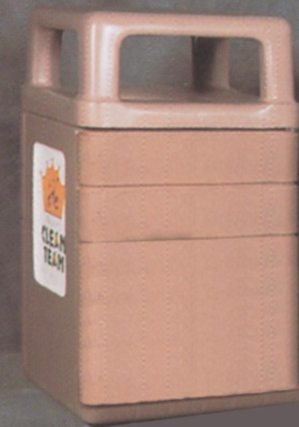 45-Gal. Square Covered Top Concrete Trash Receptacle - 26L x 26W x 44.5H