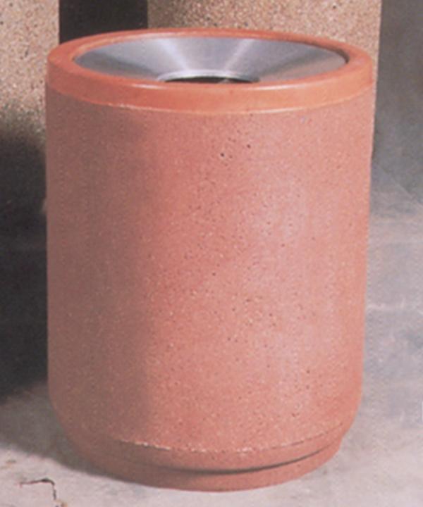 36-Gal. Round Open Top Concrete Trash Receptacle - 26.13D x 32.63H