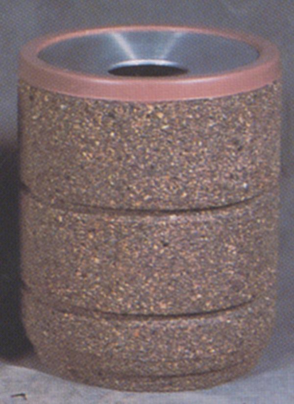 30-Gal. Round Open Top Concrete Trash Receptacle - 26.13D x 32.63H