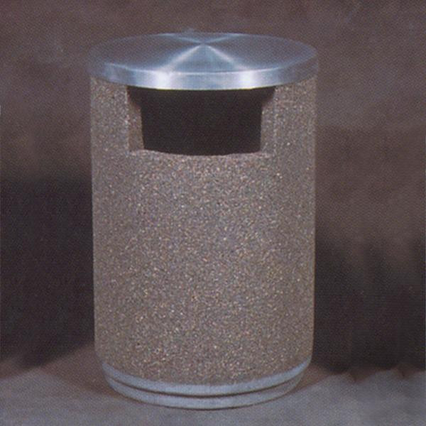 55-Gal. Round Covered Top Concrete Trash Receptacle - 30D x 42H
