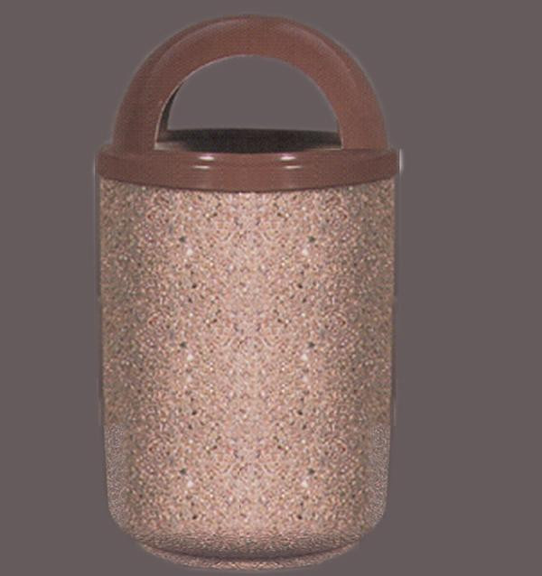30-Gal. Round Covered Top Concrete Trash Receptacle - 26.13D x 46.13H