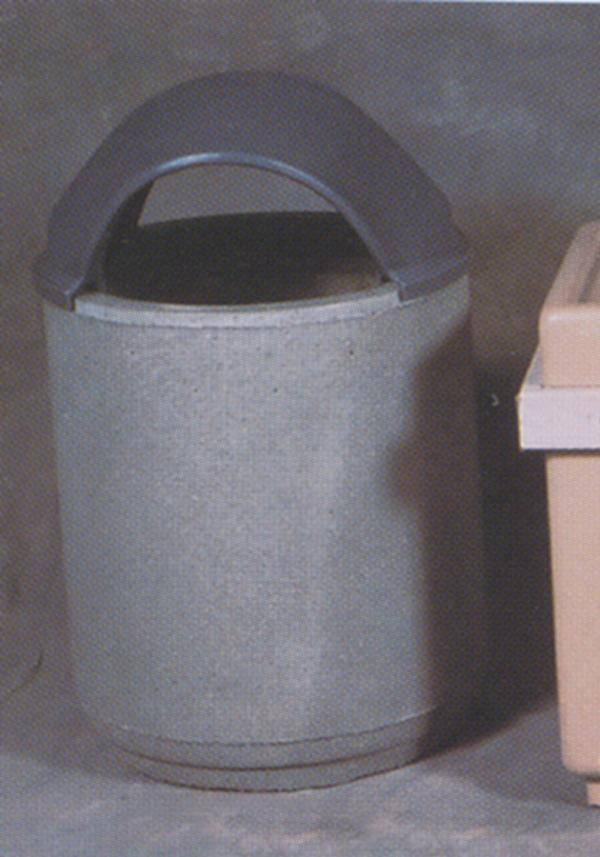 30-Gal. Round Covered Top Concrete Trash Receptacle - 26.25D x 44H