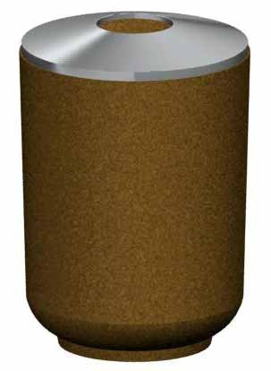 36-Gal. Round Open Top Concrete Trash Receptacle - 24D x 33H