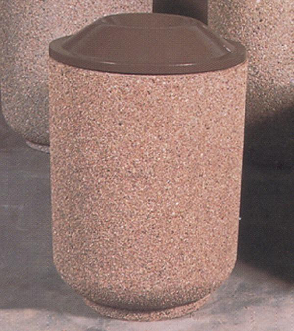 36-Gal. Round Open Top Concrete Trash Receptacle