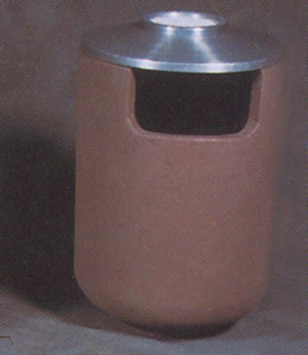 36-Gal. Round Covered Top Concrete Trash Receptacle - 24D x 37.75H