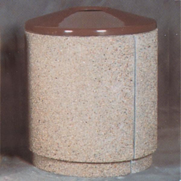36-Gal. Round Open Top Concrete Trash Receptacle - 31D x 35H
