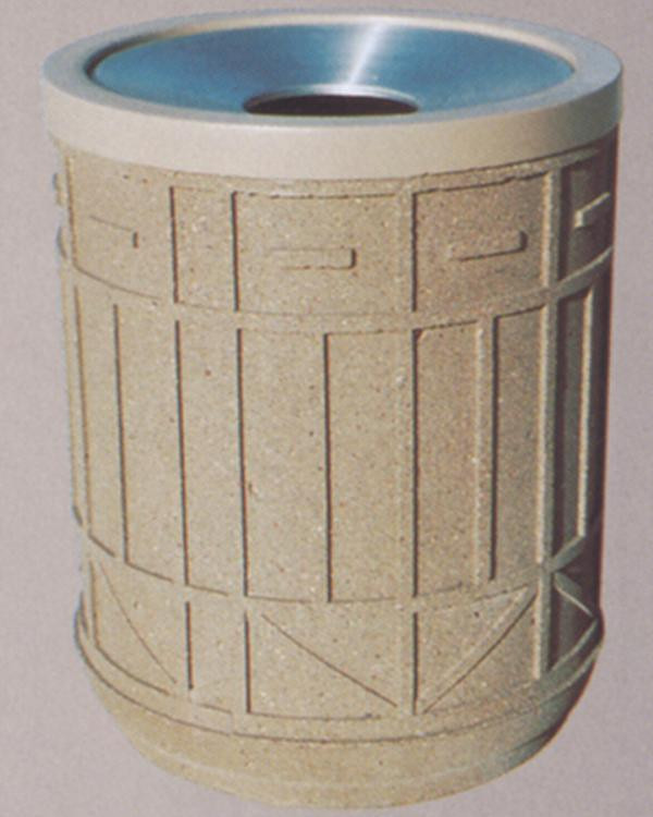 30-Gal. Colonial Series Round Open Top Concrete Trash Receptacle