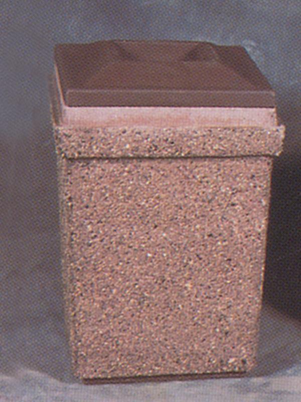 20-Gal. Square Open Top Concrete Trash Receptacle - 24L x 24W x 37H