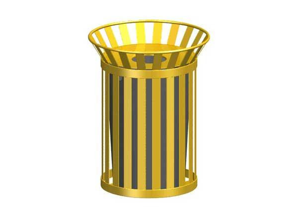36-Gal. Broadway Series Round Open Top Metal Trash Receptacle - 28D x 36H.