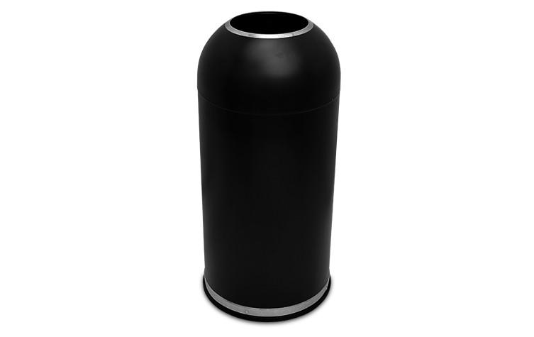 15 Gallon Executive Series Open Dome Top Trash Receptacle - Black