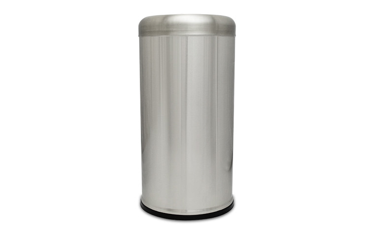 15 Gallon Executive Series Open Top Trash Receptacle - Stainless Steel
