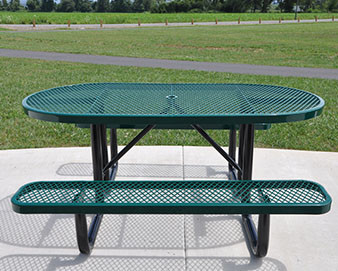 6-Ft. Oval Expanded Metal Picnic Table