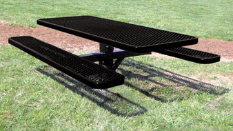 Rectangular Single Post Expanded Metal Picnic Table