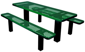 Permanent Mount Expanded Metal Rectangular Picnic Table