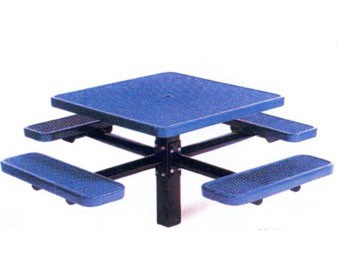 46 Sq. Single Post Expanded Metal Picnic Table with 4 Seats