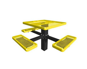 46 Sq. ADA Single Post Expanded Metal Picnic Table with 3 Seats