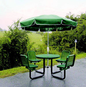 36Dia. Expanded Metal Round Picnic Table with Chairs