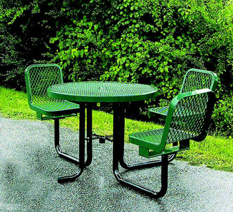 36Dia. ADA Expanded Metal Round Picnic Table with Chairs