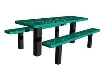 8-Ft. ADA Permanent Mount Perforated Metal Rectangular Picnic Table