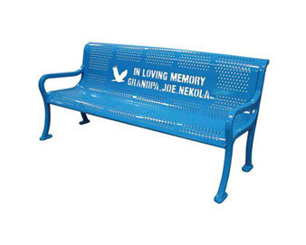 Perforated Pattern Custom Logo Bench with Back
