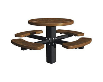 46 Dia. Round Single Post Perforated Picnic Table with 4 Seats