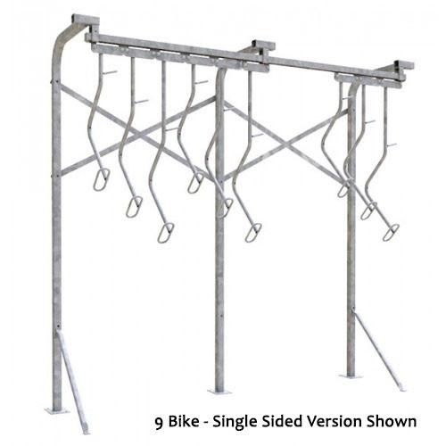 18 Bike Floor Mounted Bike Rack - Double Sided - Galvanized