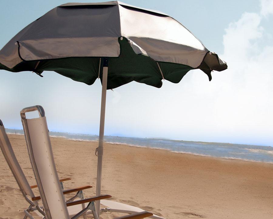 6' Diameter Beach Umbrella with 8-Panel Solar Reflective Umbrella Cover