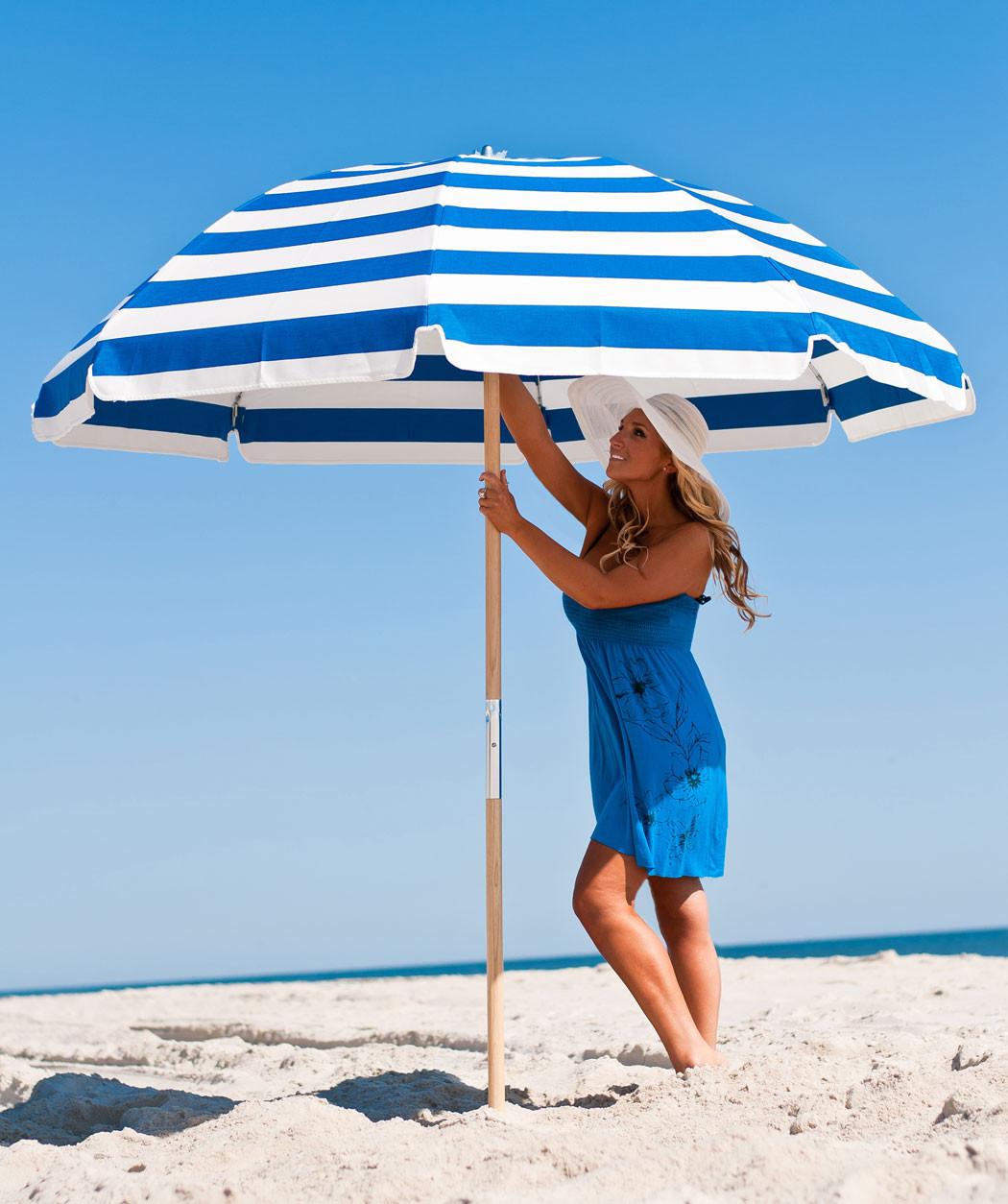 7.5' Diameter Steel Beach Umbrella with 8-Panel Sunbrella® Cover