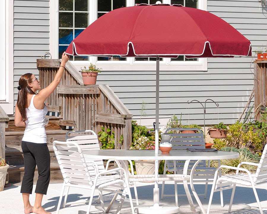 7.5 Diameter Fiberglass Patio Umbrella w 8-Panel Sunbrella Cover