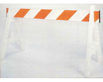 Plastic A Frame Barricade with 2 legs and 1 board with orange reflective stripes (orange reflectiv