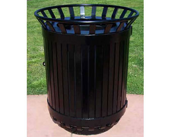 45-Gal. Steel Strap Side-Open Round Trash Receptacle