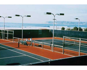 9 high open mesh windscreen finished edges & grommets for tennis courts