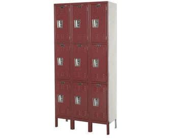 Hallowell 12Wide 3-Tier Premium Locker with Recessed Handle  3 Unit Group