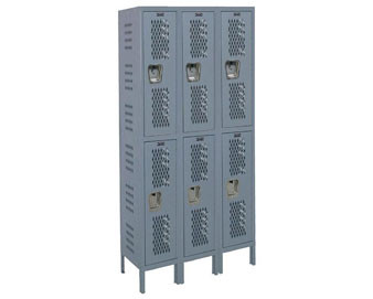 Hallowell® 15 Wide 2-Tier Heavy-Duty Ventilated Locker with Recessed Handle –3 Unit Group Quick Shi