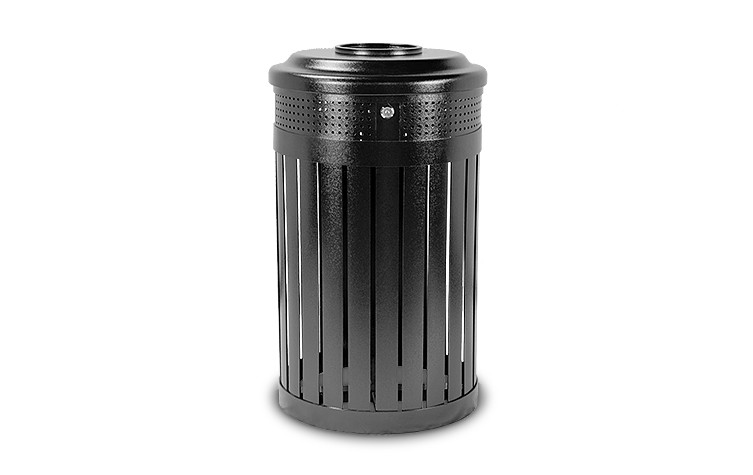 24 Gallon Executive Series Hinged Top Trash Receptacle - Powder Coated - Black