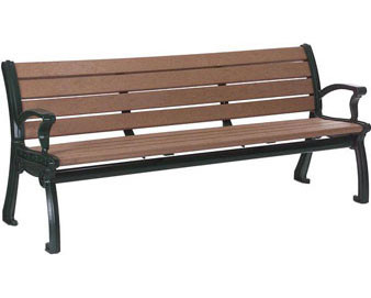 6-Ft. Contemporary Recycled Plastic Bench with Back - Alum. Frame
