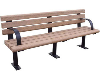 8-ft Recycled Plastic Bench with Arms