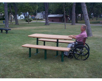 8' Recycled Plastic ADA Picnic Table.