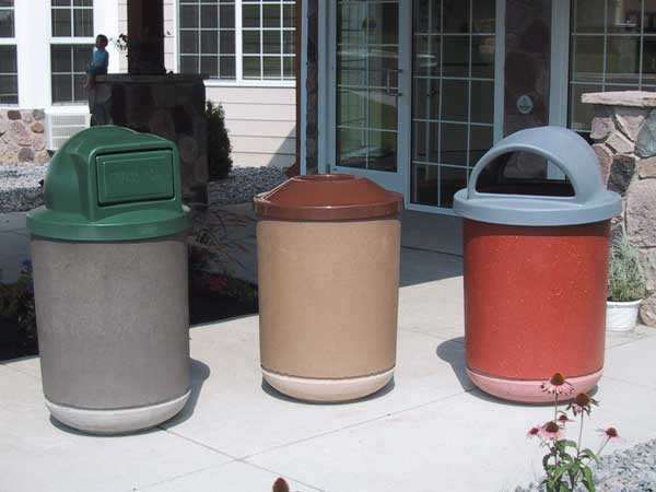 35-Gal. Concrete Trash Receptacle Choice of Pitch in, Hooded or Domed Lid